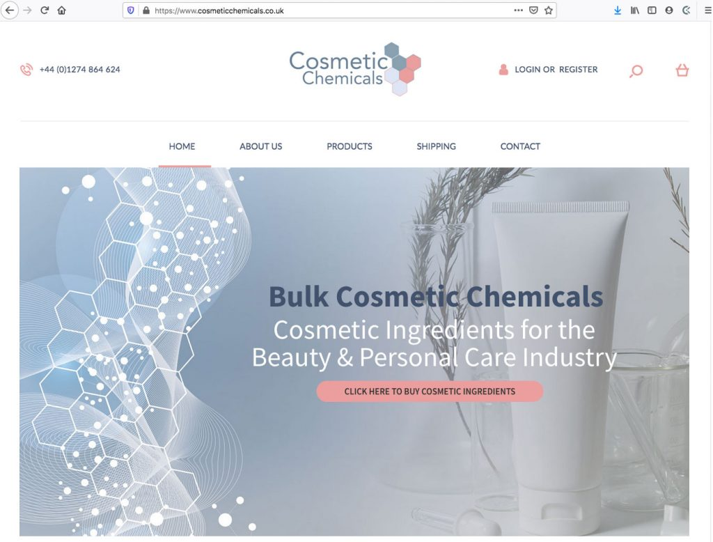Cosmetic Chemicals - Ecommerce Site