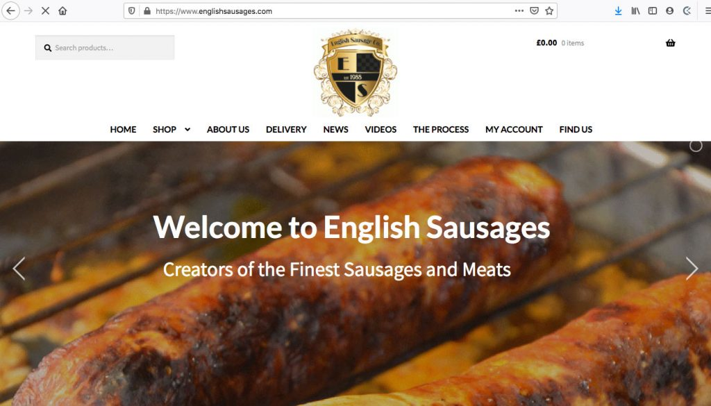 English Sausages - Ecommerce Site