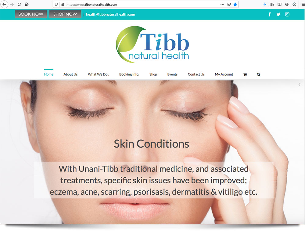 Tibb Natural Health - Ecommerce Site with Online Booking System